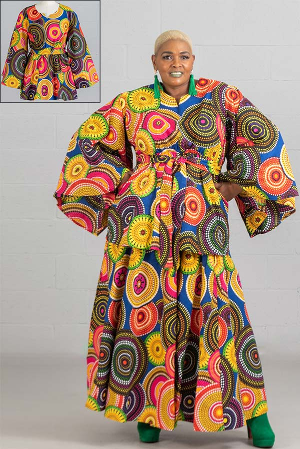 KaraChic 9024X-BlueMulti - African Print Peplum Top With Wide Bell Sleeves And Sash