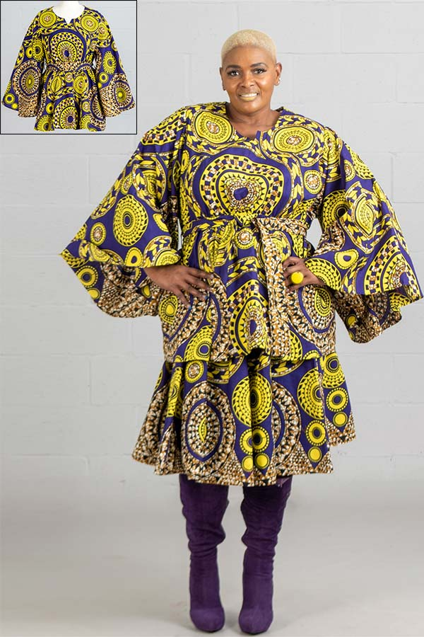 KaraChic 9024X-PurpleGold - African Print Peplum Top With Wide Bell Sleeves And Sash