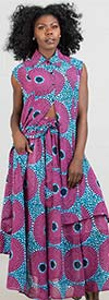 KaraChic 415P - Womens Button Up African Style Print Tunic Top With Pockets