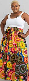 KaraChic 7001X-BlueMulti - Womens Maxi Skirt With Elastic Waist In African Print