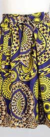 KaraChic 7012X-PurpleGold- Womens Midi Skirt In African Style Print