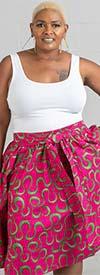 KaraChic 7012X-PinkGreen - Womens Midi Skirt In African Style Print