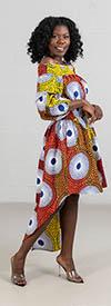 KaraChic - 7285-499 -  Womens African Print High-Low Off Shoulder Tunic