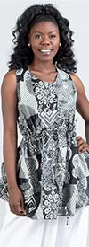 KaraChic 9039 - African Print Design Tie Waist Womens Top With Side Pockets