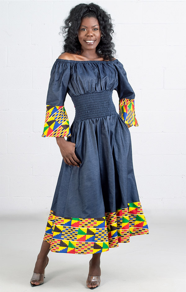 KaraChic 304D  - Womens African Print Bell Cuff Sleeve Dress With Smocked Waist