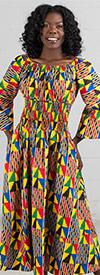 KaraChic 304NP - Womens Smocked Design Bell Sleeve African Print Dress