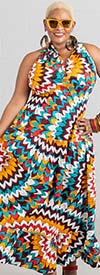 KaraChic 5005-BurgundyGoldBlue - Womens Sleeveless Long (Maxi) Halter Dress In African Style Print