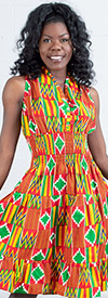 KaraChic 5006D  - Ladies African Print Smocked Halter Dress
