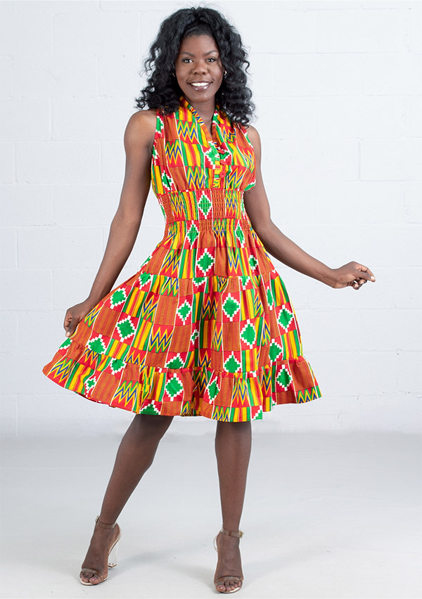 KaraChic 5006D  - Ladies African Print Smocked Halter Dress
