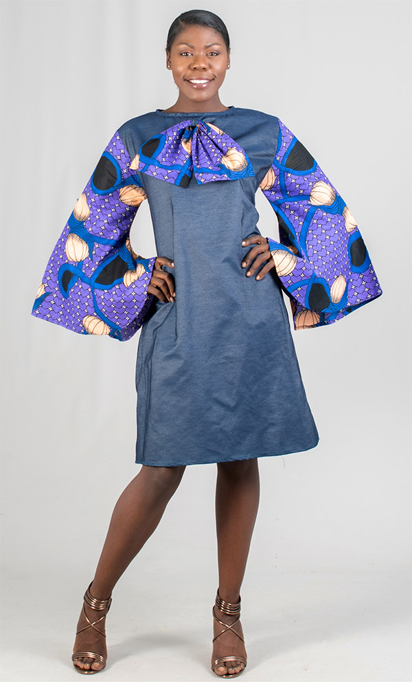 KaraChic 503 - Bow Adorned Denim Dress With Printed Bell Sleeves And Smocked Back