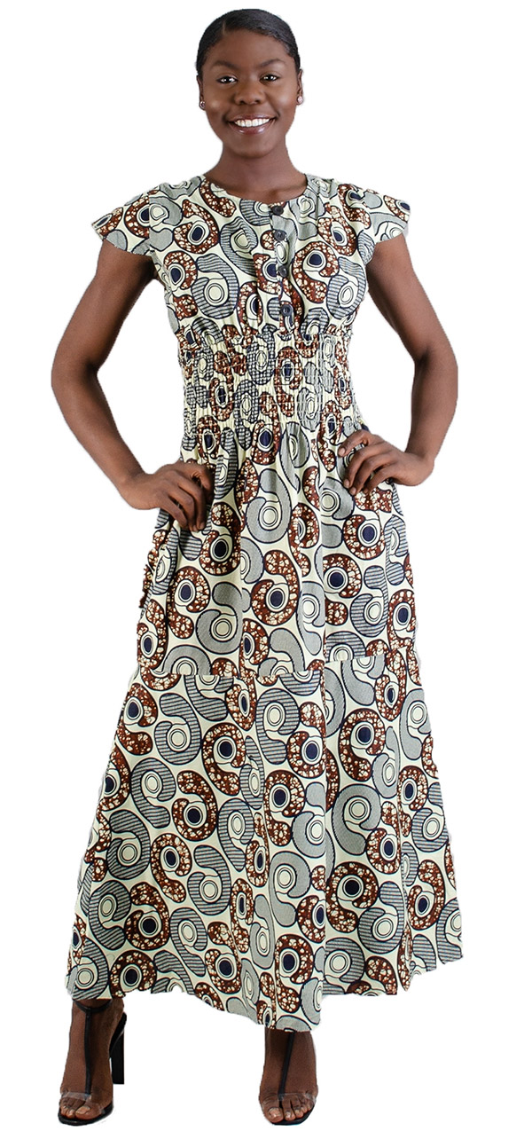 KaraChic 507 - Printed Cap Sleeve Dress With Smocking Details And Buttons