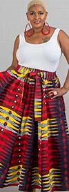 KaraChic 7001-YellowRed - Womens African Print Maxi (Long) Skirt With Elastic Waist & Sash