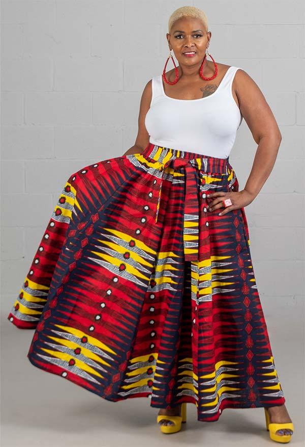 KaraChic 7001-YellowRed - Womens African Print Maxi (Long) Skirt With Elastic Waist & Sash
