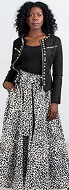 KaraChic 7001-LeopardPrint - Womens African Print Maxi (Long) Skirt With Elastic Waist & Sash