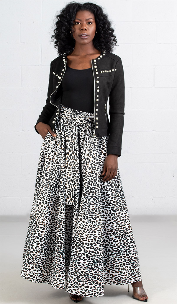 KaraChic 7001-LeopardPrint - Womens African Print Maxi (Long) Skirt With Elastic Waist & Sash