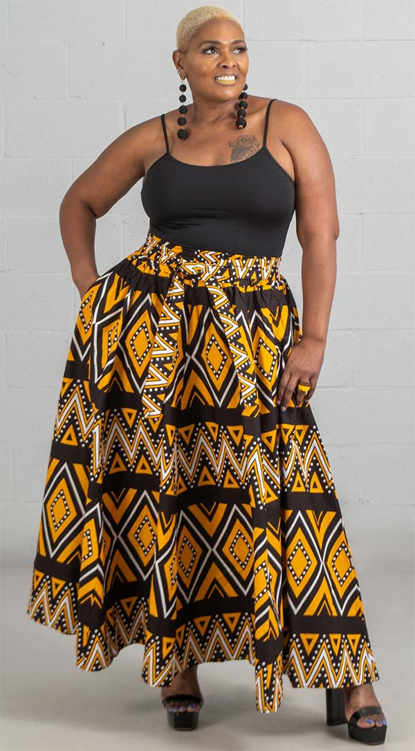 KaraChic 7001-BlackGold - Womens African Print Maxi (Long) Skirt With Elastic Waist & Sash