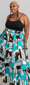 KaraChic 7001-AquaMulti - Womens African Print Maxi (Long) Skirt With Elastic Waist & Sash