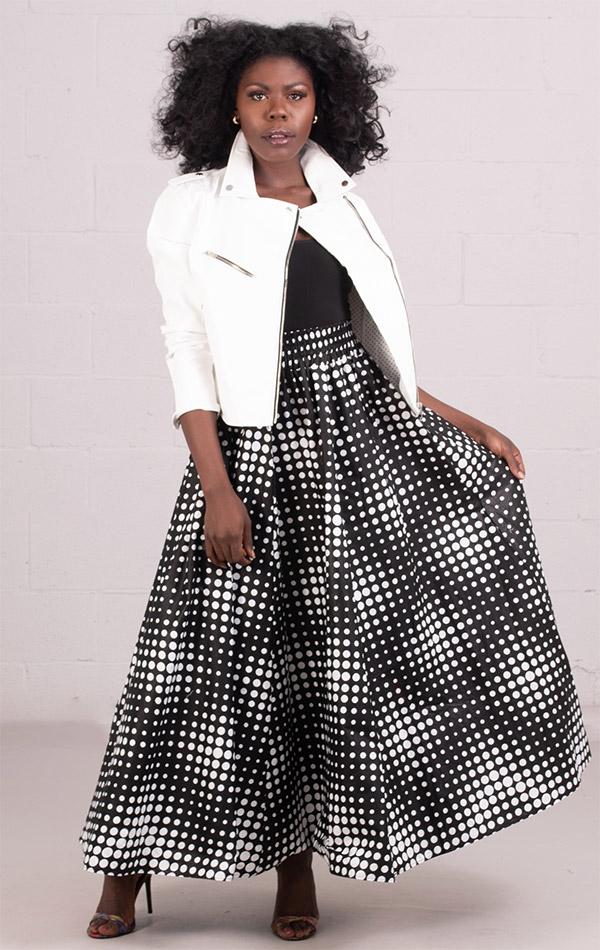 KaraChic 7001-BlackWhiteDot - Womens African Print Maxi (Long) Skirt With Elastic Waist & Sash