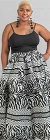 KaraChic 7001-BlackWhite - Womens African Print Maxi (Long) Skirt With Elastic Waist & Sash