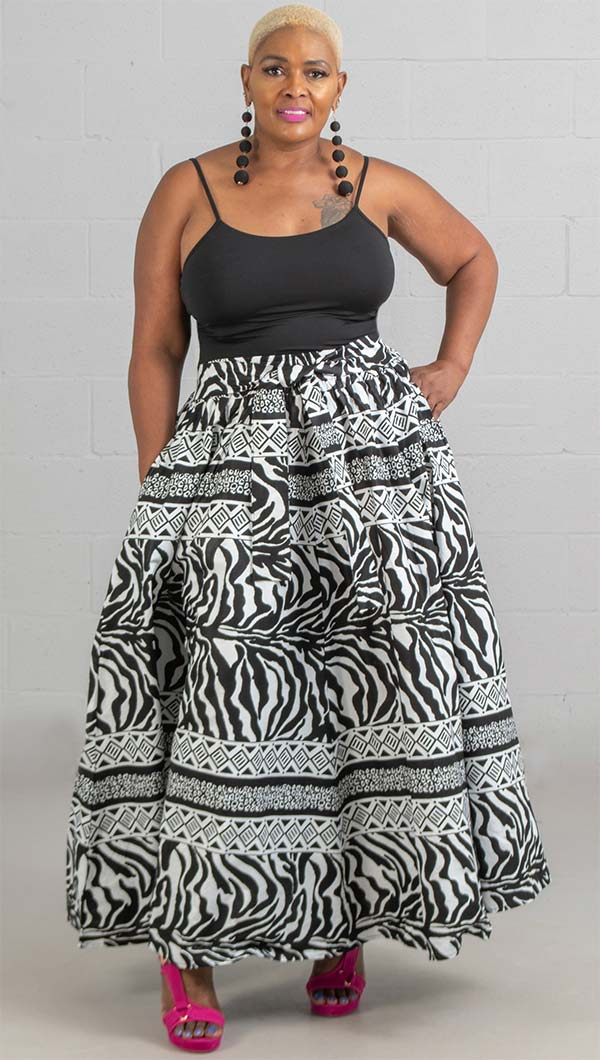 KaraChic 7001-BlackWhite - Womens African Print Maxi (Long) Skirt With Elastic Waist & Sash
