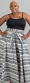 KaraChic 7001-WhiteBlack - Womens African Print Maxi (Long) Skirt With Elastic Waist & Sash