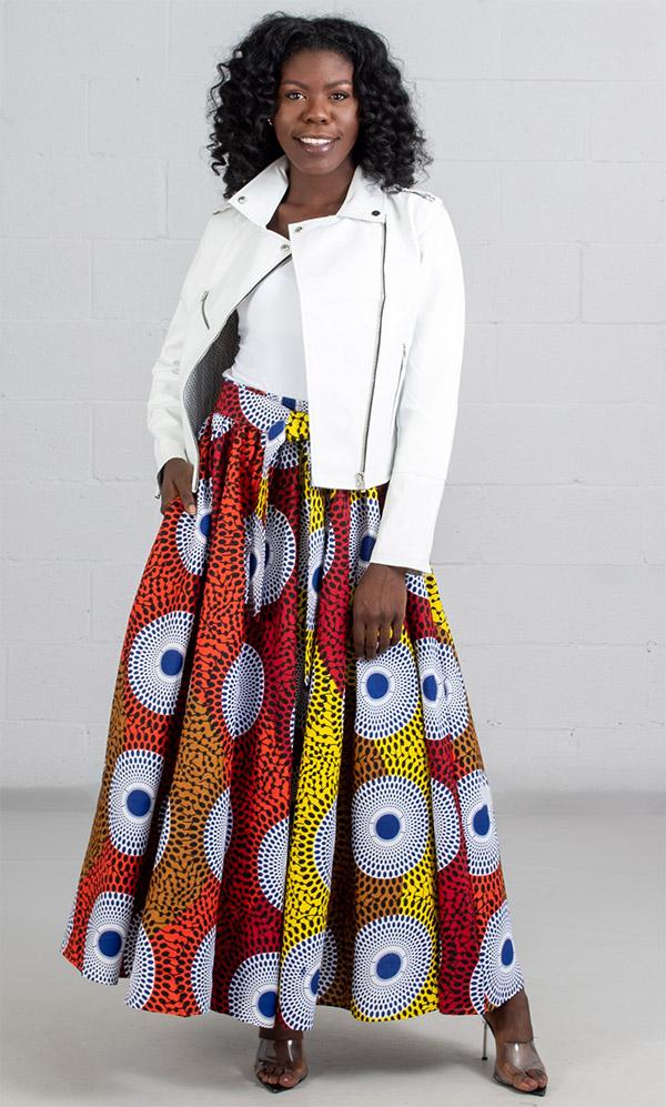 KaraChic 7001-RedOrangeWhite - Womens African Print Maxi (Long) Skirt With Elastic Waist & Sash