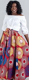 KaraChic 7001-RedWhiteFloral - Womens African Print Maxi (Long) Skirt With Elastic Waist & Sash