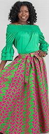 KaraChic 7001-PinkGreen - Womens African Print Maxi (Long) Skirt With Elastic Waist & Sash