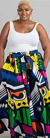 KaraChic 7001-BlueMultiPrint - Womens African Print Maxi (Long) Skirt With Elastic Waist & Sash