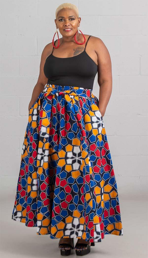KaraChic 7001-RedBlueYellow - Womens African Print Maxi (Long) Skirt With Elastic Waist & Sash