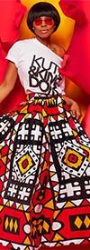 KaraChic 7001-RedYellow - Womens African Print Maxi (Long) Skirt With Elastic Waist & Sash