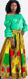 KaraChic 7001D-LemonGreen - Womens Dashiki Print Maxi (Long) Skirt With Sash