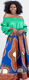 KaraChic 7001D-RoyalWhite - Womens Dashiki Print Maxi (Long) Skirt With Sash