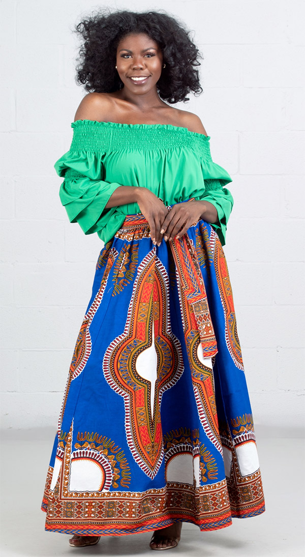 KaraChic 7001D-RoyalWhite - Womens Dashiki Print Maxi (Long) Skirt With Sash