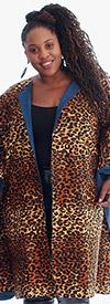 KaraChic 7021-LeopardPrint - Womens Bold Print Poncho Duster With Denim Lining
