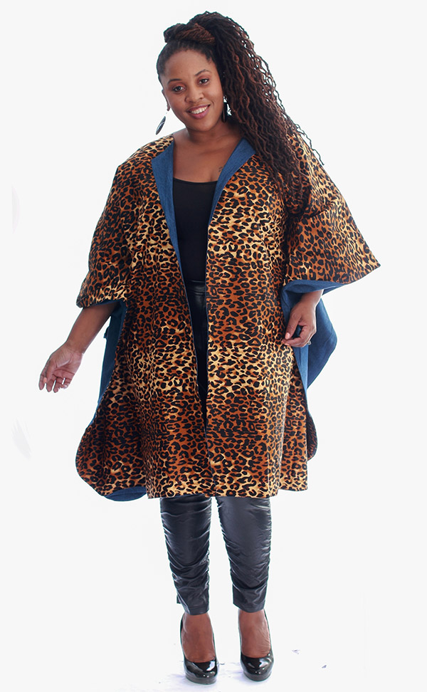KaraChic 7021-LeopardPrint - Womens Bold Print Poncho Duster With Denim Lining