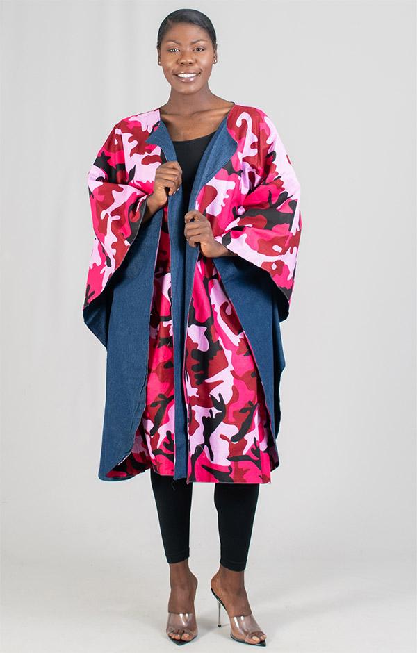 KaraChic 7021-PinkCamo - Womens Bold Print Poncho Duster With Denim Lining