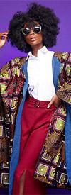 KaraChic 7021-BlackMulti - Womens Bold Print Poncho Duster With Denim Lining