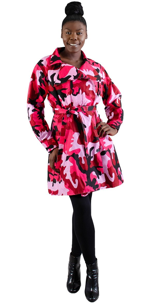 KaraChic 7030-PinkCamo - Womens Trench Jacket With Sash & Buttons