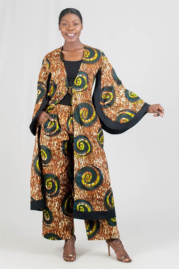KaraChic 7036-374 - Brown & Green Print Kimono Jacket and Pant Set