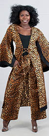 KaraChic 7036-254 - Leopard Print Kimono Jacket and Pant Set