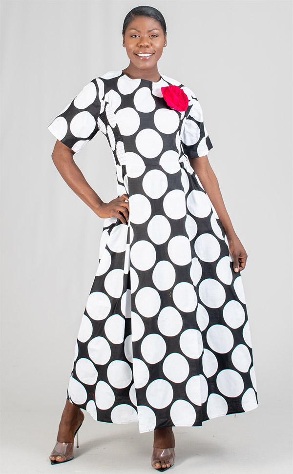 KaraChic 7062X-BlackWhite - Womens Printed Short Sleeve Dress With Smocked Sides & Detachable Flower