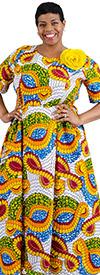 KaraChic 7062X-WhiteGold - Womens Printed Short Sleeve Dress With Smocked Sides & Detachable Flower
