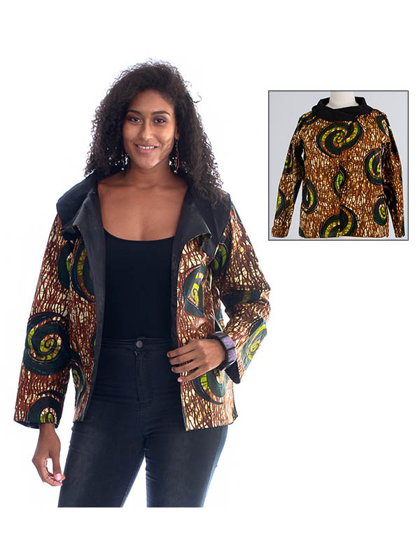 KaraChic 7065-BrownGreen - Womens Cowl Neckline Jacket With Split Front In Bright Print Design