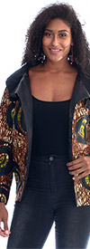 KaraChic 7065-BrownGreen - Womens Cowl Neckline Jacket With Split Front In Bright Print Design
