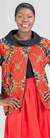 KaraChic 7065-RedGold - Womens Cowl Neckline Jacket With Split Front In Bright Print Design