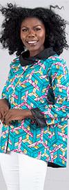 KaraChic 7065-BluePink - Womens Cowl Neckline Jacket With Split Front In Bright Print Design