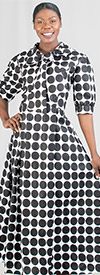 KaraChic 7068X - Womens Polka-Dot Print Dress With Tie Bow And Cuffed Sleeves