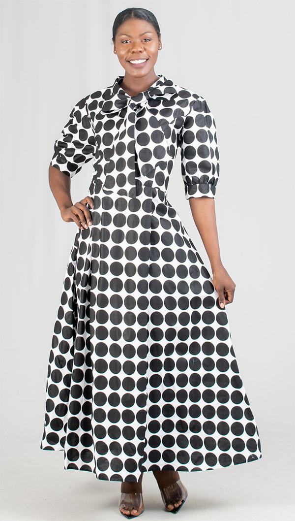 KaraChic 7068X - Womens Polka-Dot Print Dress With Tie Bow And Cuffed Sleeves