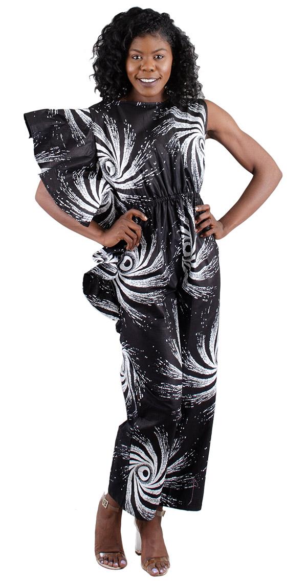 KaraChic 7212 - One Ruffle Sleeve Style Spiral Print Womens Jumpsuit